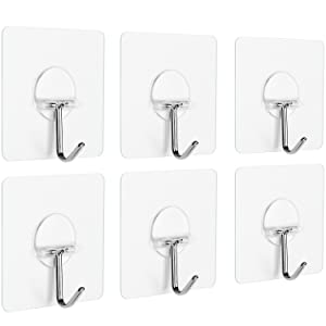 Anwenk Wall Hooks Adhesive Wall Hanging Hooks Stick On Hooks Ceiling Hanger Damage Free Hanging, Reusable Waterproof OilProof for Home, Bathroom, Kitchen, Refrigerator Door, Keys, Bags,Clear