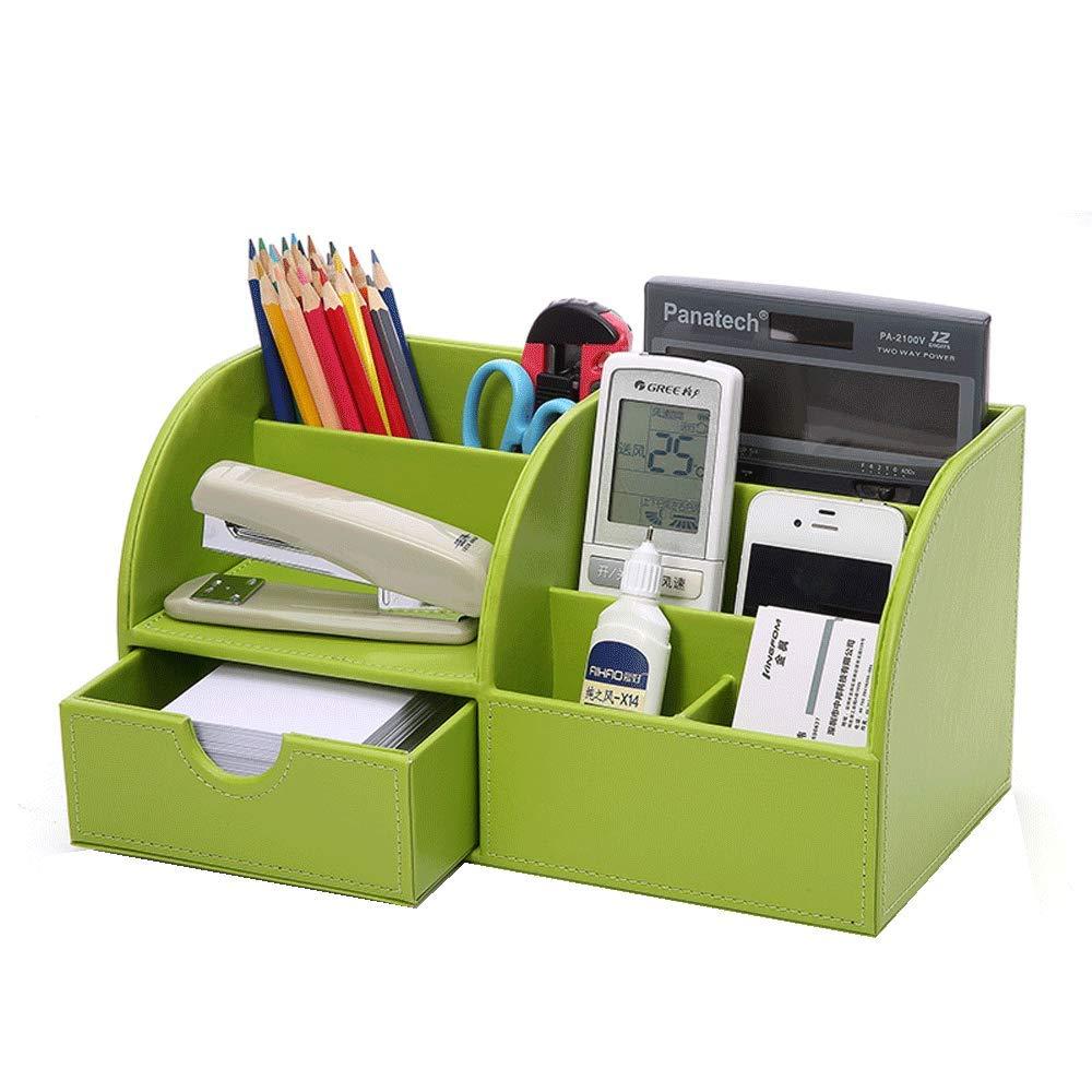 BITONG Porta Penne Scatola di immagazzinaggio Forniture per Ufficio scrivania Studente Stand in Pelle Grande (verde)