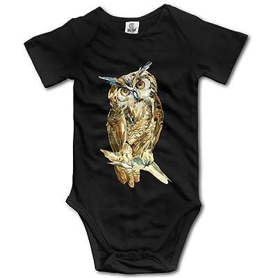 Frouren Cool Watercolor Owl Unisex Short Sleeve Bodysuit Romper Jumpsuit Outfits