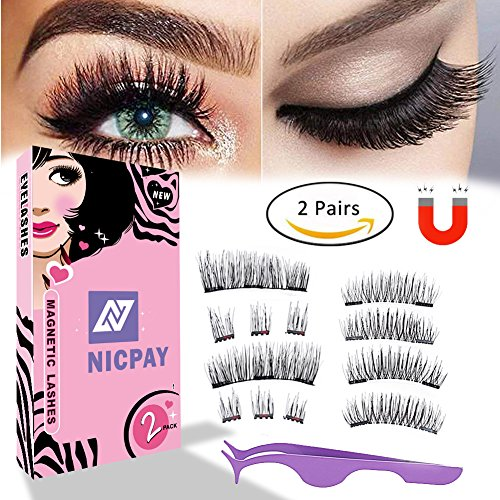 Magnetic Eyelashes,Ultra-thin 3 Magnet Dual Magnetic Lashes for Full Eye, Natural Look,3 Magnets Strip Eyelashes,Reusable 3D Magnet Lashes (2 SETS) ()