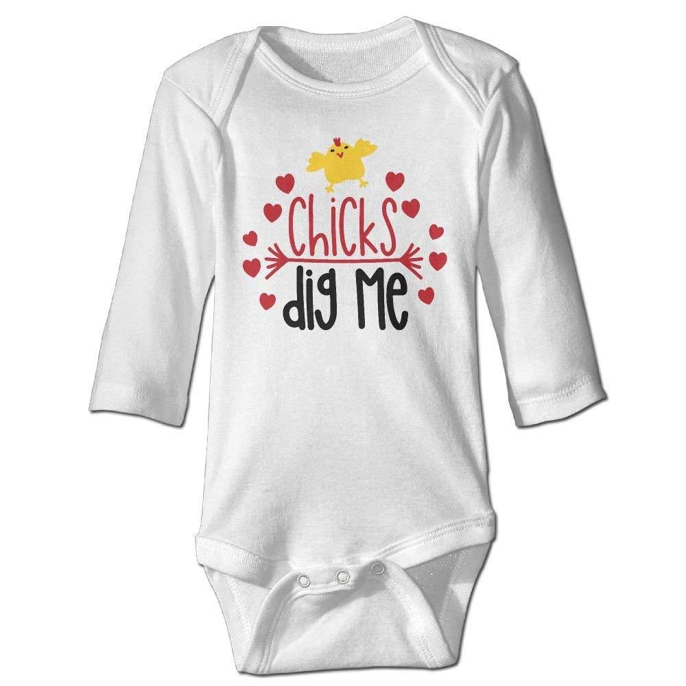 Chicks Dig Me Newborn Cotton Jumpsuit Romper Bodysuit Onesies Infant Boy Girl Clothes
