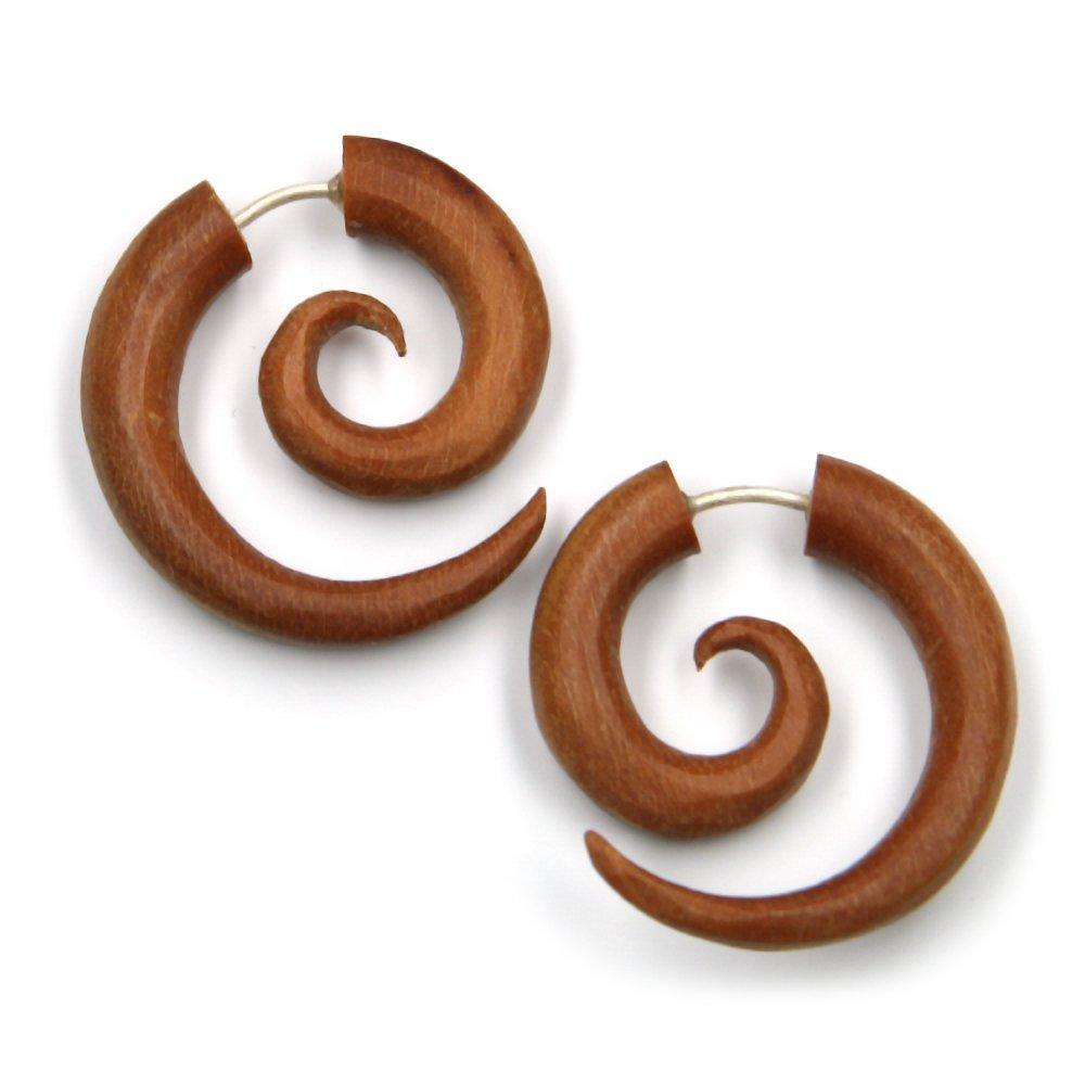 Espiral pendientes de joyería Piercing Falso de madera rojo ...