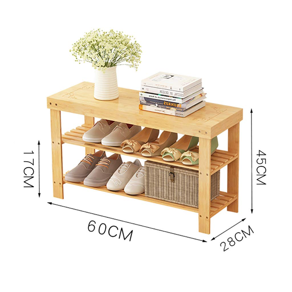 B 602845CM Entrance shoes Rack shoesbox Change shoes Bench Shelf Storage Shelf Multifunction 2 Layer Household Dorm Room Space Saving Doorway Bamboo (color   B, Size   80  28  45CM)