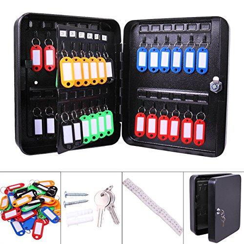 (48 Key Holder Bag,Wall Mount Key Case Metal Safe Case Cabinet Box Storage Key Tags Key Lock Box Shelf Black for Home Safe Steel Security with Mechanical Lock)