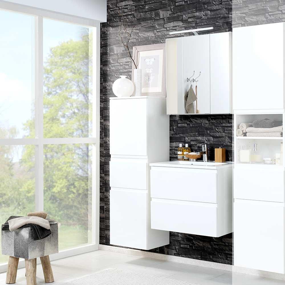 Badezimmer Set In 3d Spiegelschrank Hochglanz Weiss 3 Teilig Breite