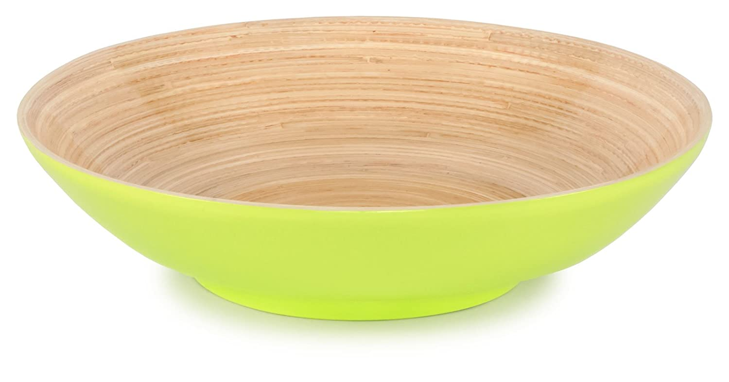 Lacquered Bamboo Lime Green Compote Bowl, 11