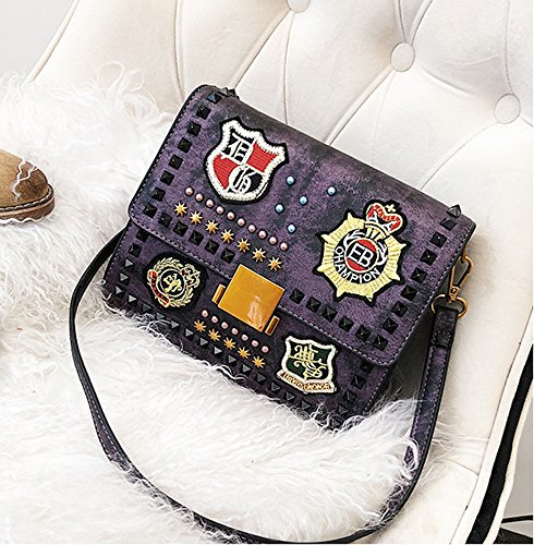 Badge Messenger Purse PU Purple Bag Satchel Purple Rivet Femmes Épaule nU1TTZ