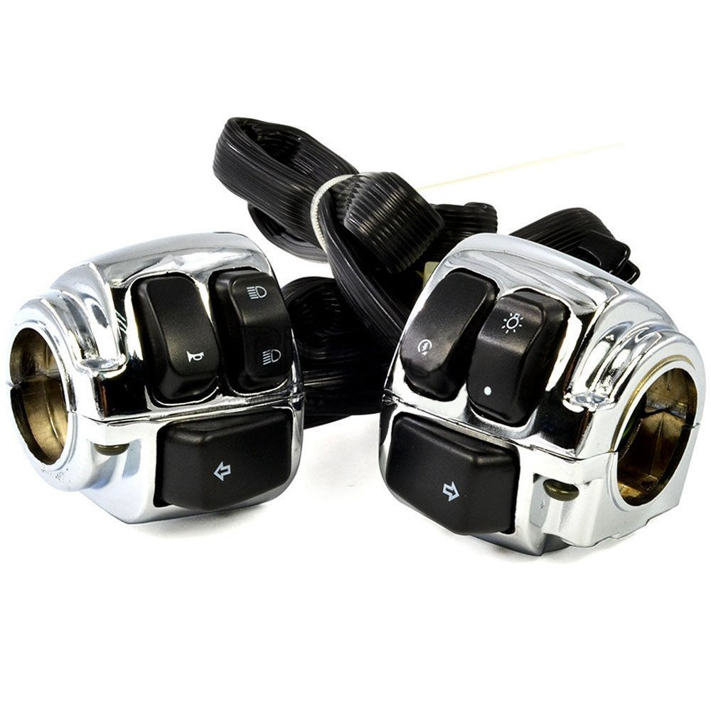 Outdoors /& Spares OS 1 Handlebar Chrome Housing Horn Turn Signal Headlight Electrical Switch for 1996-2012 Harley Softail Dyna Sportster V-Rod