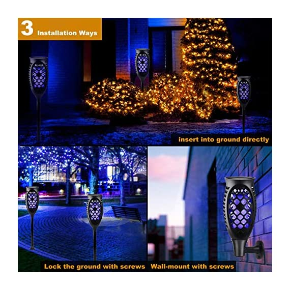 "Solar Lights Outdoor, Solar Torch Light Blue Flickering Flame 99 LED Waterproof Garden Lighting Festival Halloween Christmas Decorations, 3 Modes & 3 Installation Ways, Dusk to Dawn Auto On/Off (2) - 🔥Gorgeous Flickering Flame: A safe alternative to the real ""flames"" - 99LEDs in the light cast a safe, soft, mood-enhancing glow.Juhefa also offer two modes: steady light and breathing light - 2018 Upgraded. 🔥Mount Easily with 3 Options:Mount on wall, insert in ground ,and lock on deck.No wiring required,anytime anywhere decorate your home vivid. 🔥Intelligent Working:High-capacity 2200mAh built-in battery,Solar power charging,convenient and safe to use around kids and pets.Light up 10 hours in summer and 5 hours in winter after fully charged. Charging time: 8hrs (sunny day). - patio, outdoor-lights, outdoor-decor - 61PGu2SItlL. SS570  -"