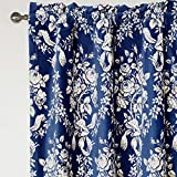MICHELE HOME FASHION 25 (Set of 1 panel) (100″ W x 108″ L) Rod Pocket Print Elegant Dark Navy Smiling Rose Floral Blackout Lining Window Treatment Draperies & Curtains Panels Review