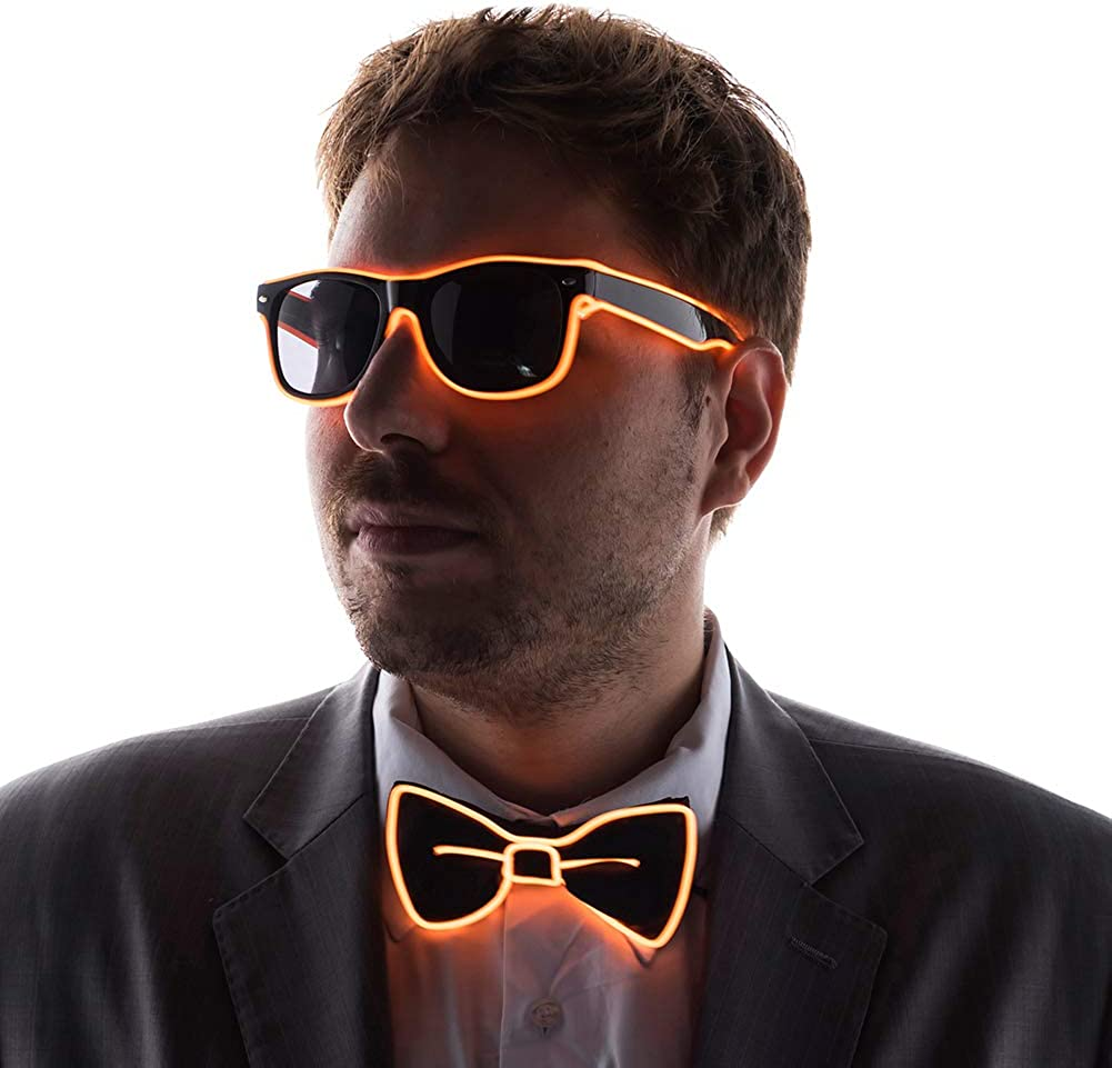 Perfect for Halloween Seemaxs LED Light Up Glasses Bow Tie Suspender for Man