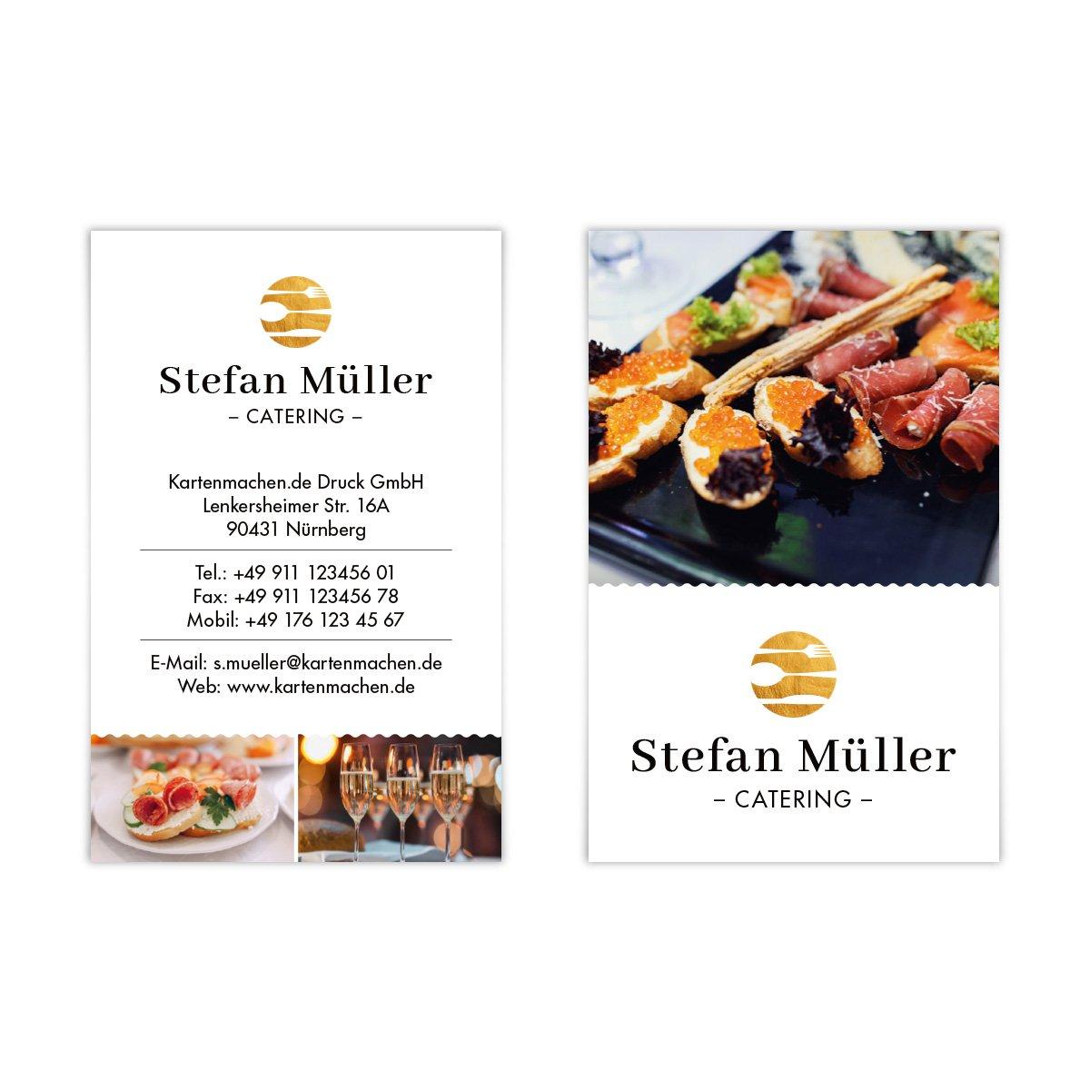500 x Visitenkarten individuell Business Karten 300g qm qm qm 85 x 55 mm - Catering B07F42N37D Visitenkarten Stilvoll und lustig a09126