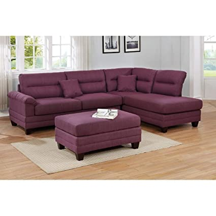 Cool Amazon Com Overstock Stanton 3 Piece Sectional Sofa Purple Squirreltailoven Fun Painted Chair Ideas Images Squirreltailovenorg