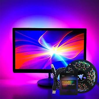 Ambilight TV USB direccionable Ws2812b 5V LED Strip 5050 RGB Dream Color para computadora TV Pantalla de escritorio Luz de fondo 5m 4M: Amazon.es: Iluminación