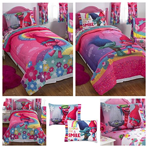 DreamWorks Trolls Complete 4 Piece Girls Comforter Set - Twin (Complete Sheet Bedding Set Twin)