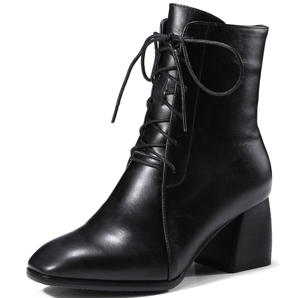 Nine Seven Genuine Leather Womens Square Toe Chunky Heel Side Zip Handmade Ankle Boots with Lace Up