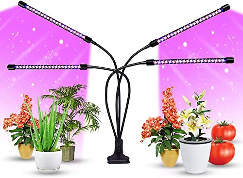 LED Grow Lights for Indoor Plants, 80W 4 Arms 10 Dimmable Level Clip-On Desk Growing Lamp for Seedling Blooming, with Red Blue Spectrum Modes, Adjustable Gooseneck, 3 9 12H Timer, AC Adapter