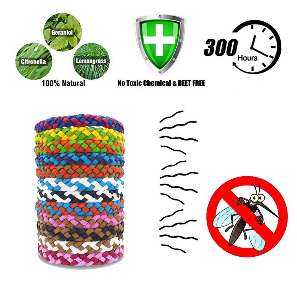 zuf/ällige Farbe Faviye 12 St/ücke Moskito Armband Lederband Anti-Moskito Nat/ürliche Einstellbare f/ür Kinder und Erwachsene Outdoor Indoor