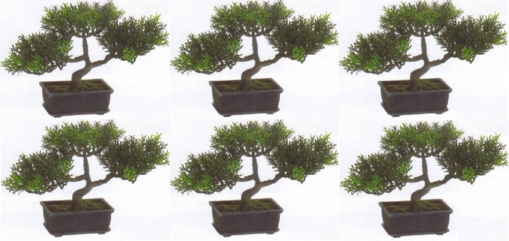 6 Artificial 9'' Tea Leaf Bonsai Tree Topiary In Outdoor Plant Pool Patio Home