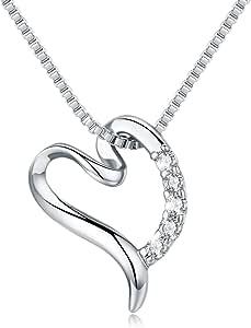 LEVIOLET - Collar de mujer con colgante de corazón de plata de ley 925 con cadena de plata de 45 cm