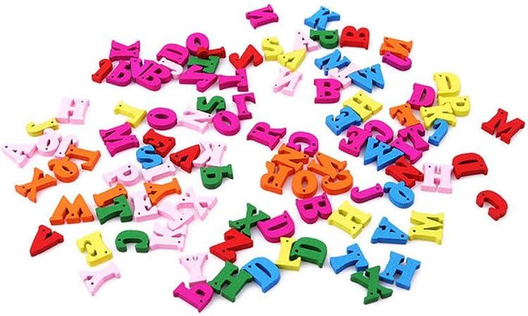 AGLKH 100 unids/Lote Niños DIY Alfabeto De Madera Artesanías Letras Scrabble Educativas Coloridas Artesanías Rompecabezas Juguetes para Niños, con Agujeros: Amazon.es: Hogar