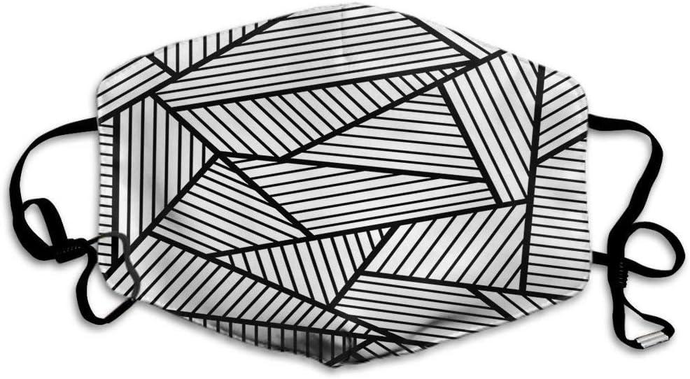 F - Máscara geométrica de rayas negras y blancas, poligonales, máscara de fondo, mascarilla unisex reutilizable, lavable de poliéster antipolvo, para hombres y mujeres al aire libre
