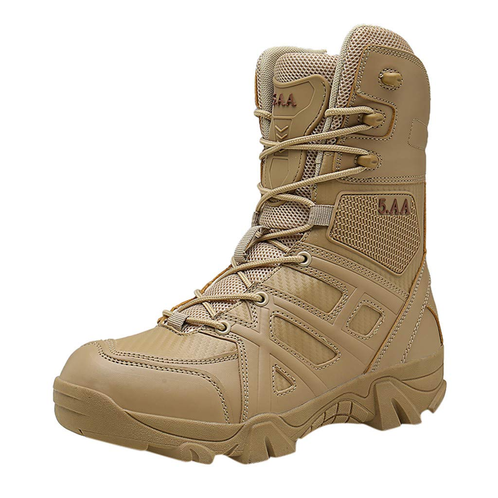 Kauneus Outdoor Men's Tactical Military Ankle Boots Water Resistant Lightweight Hiking Boots Work Safety Boots Beige by Kauneus Fashion Shoes