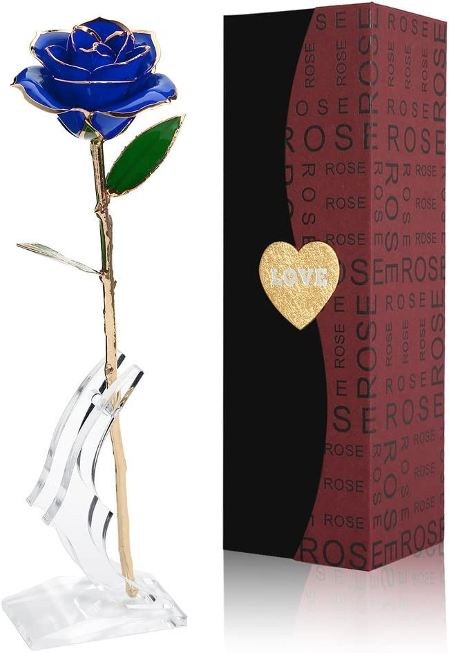Gomyhom Rosa 24K, Rosa de Oro Chapada en Oro con Caja de Regalo para Madre para Amor en el Día de San Valentín para Aniversario para Amigos como Un Regalo de Cumpleaños (Flor Azul con Soporte)