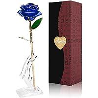 Gomyhom Rose, 24k Gold Rose Handgefertigt Konservierte Rose - mit Geschenkbox für Frau Freundin/Muttertag/Geburtstag/Hochzeitstag/Jahrestag Künstliche Rose