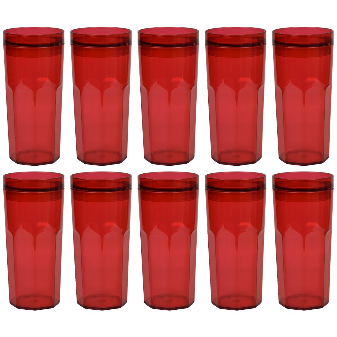 Acrylic Single Wall Retro Tumbler | Push-On Lid | 10pk | Red SandT Collection 10STTU0001RD