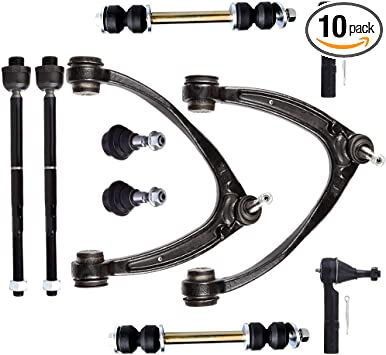 SCITOO 10pcs Suspension Kit 2 Upper Control Arm 2 Front Sway Bar Stabilizer Links 2 Lower Ball Joints 2 Inner 2 Outer Tie Rod Ends fit Gmcsierra 1500 2008-2013 Gmcyukon 2007-2014 K6541