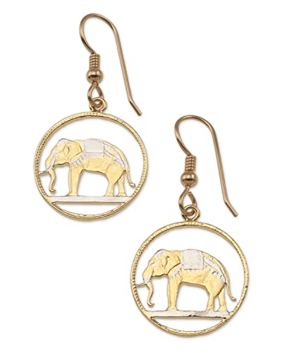 Amazon thailand elephant earrings coin hand cut 14k gold thailand elephant earrings coin hand cut 14k gold rhodium plated 3 freerunsca Images