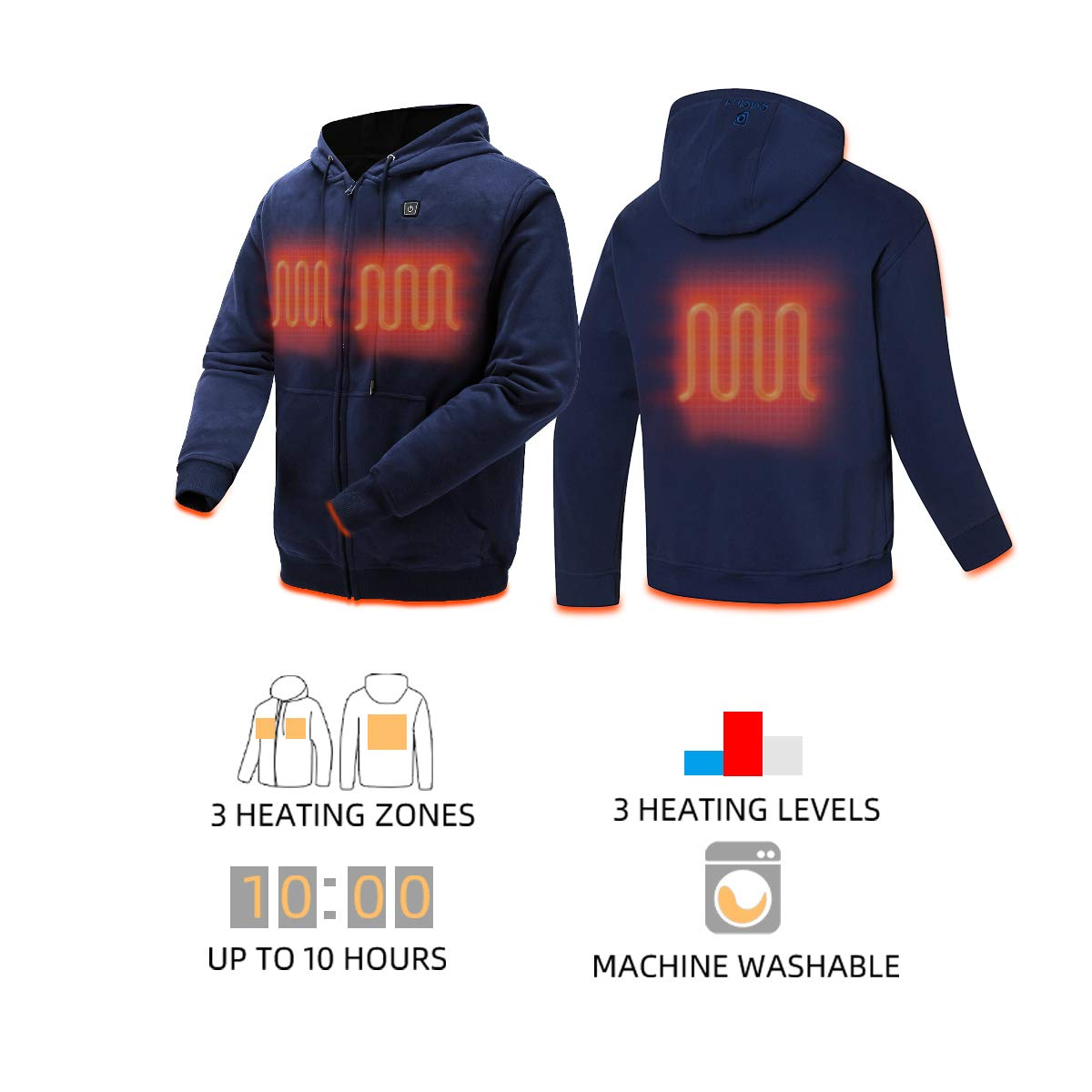 Unisex COLCHAM Heated Hoodie Soft Fleece with Battery and Charger