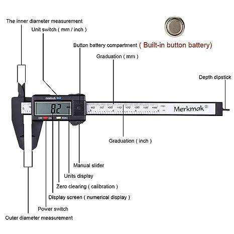 Color : 80mm Color Random BGDRR 100 mm LCD electr/ónico Digital de Fibra de Carbono Vernier de micr/ómetro de Alta precisi/ón electr/ónica Pie de Rey
