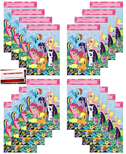 16 Pack My Little Pony Party Plastic Loot Treat Candy Favor Bags (Plus Party Planning Checklist Mikes Super Store) ()
