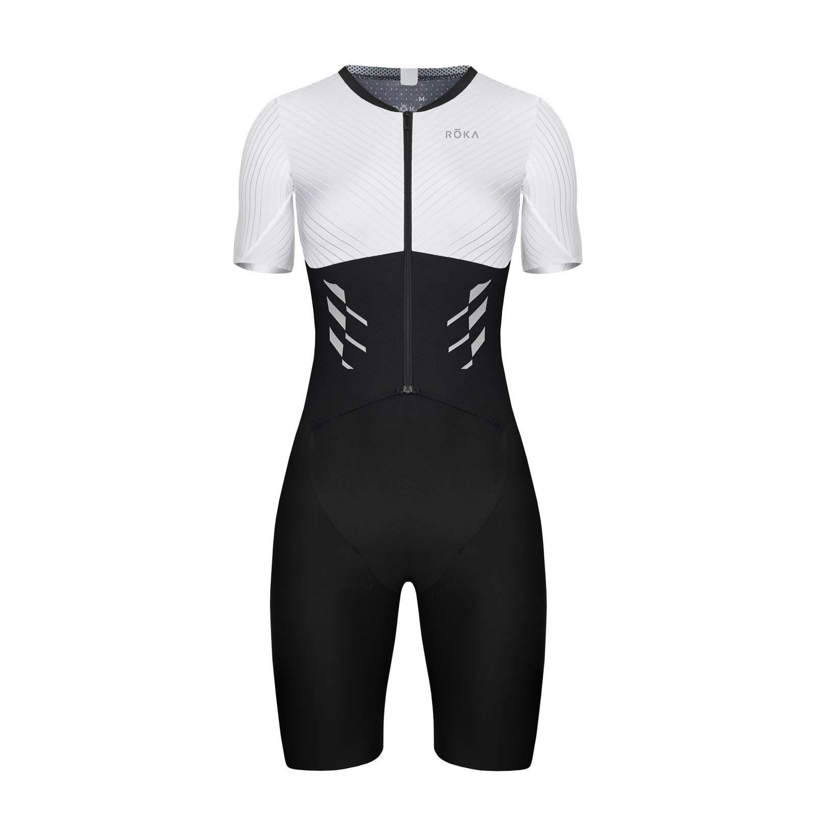 ROKA Women's Gen II Elite Aero Short Sleeve Triathlon Sport Suit - White/Black - X-Small