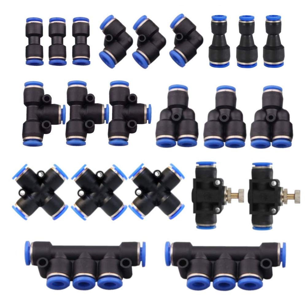 22 Pcs Push to Connect Fittings Kit, 1/4'' 6mm Od Quick Release Connectors, 3 Elbows, 3 Union Tee, 3 Y Splitters 3 Straight Unions, 3 Reducer Unions, 3 Cross Unions, 2 Hand Valves, 2 Manifold by Zivisk
