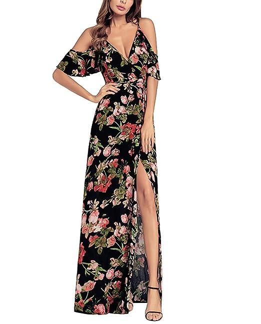 Keephen Vestidos maxi de las mujeres vestido largo estampado floral Vestidos de fiesta de noche de