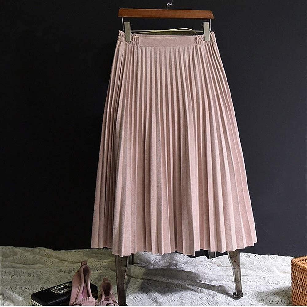 BIXIANGJI falda plisada de ante para mujer, falda plisada vintage ...