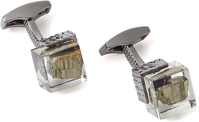 Stainless Steel Cufflinks Gemstone Cufflinks Fool/'s Gold Men/'s Gift Pyrite Cufflinks