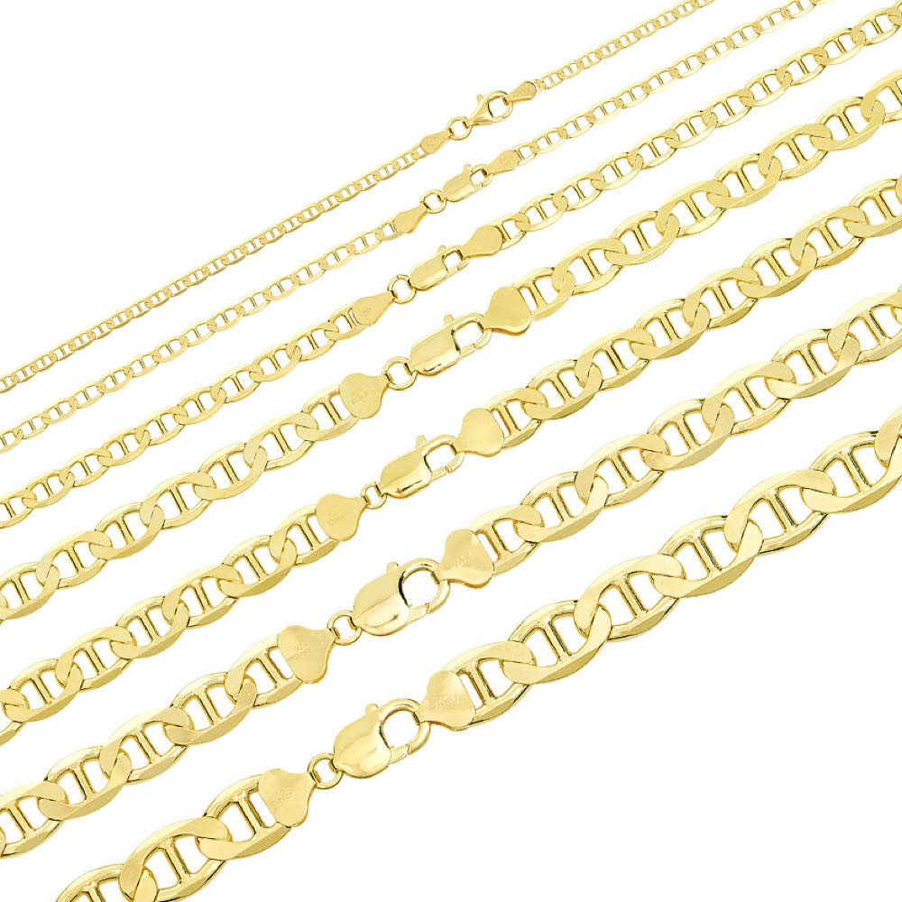Great Necklace for Pendants 3-12mm 18-30 Mens 14k Gold Over Solid 925 Sterling Silver Mariner Link Chain
