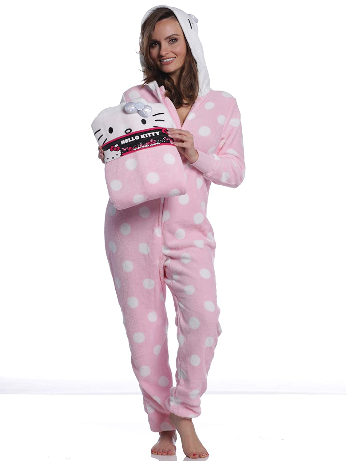 358ca3a767 Hello Kitty Women s Printed Plush Hooded Union Suit at Amazon Women s  Clothing store