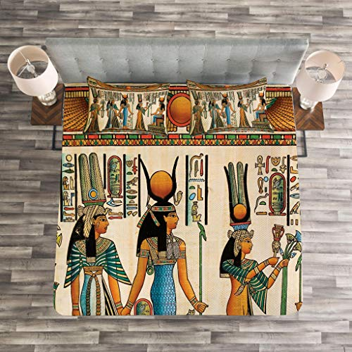 Lunarable Egyptian Print Bedspread, Egyptian Papyrus Depicting Queen Nefertari Making an Offering to Isis Image, Decorative Quilted 3 Piece Coverlet Set with 2 Pillow Shams, Queen Size, Teal Orange