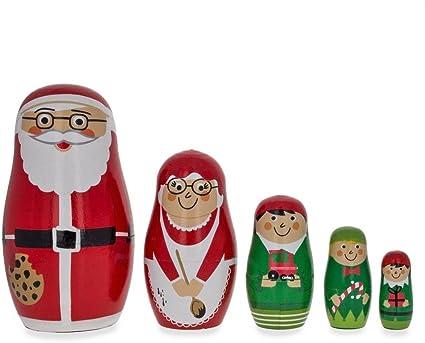 Claus Mrs Elf /& Snowman Wooden Nesting Dolls 4.75 Inches Set of 5 Santa Claus