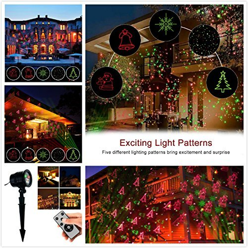 Christmas Projector Lights Green & Red Laser Lights Laser Show Star Light Shower RF Wireless Remote 6 Patterns IP44 Waterproof for Xmas