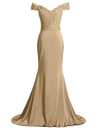 DreamyDesign Damen Kleid Elegant Spitze Abendkleid Schulterfreies Festliche  Kleider Brautjungfer Hochzeit Cocktailkleid V-Ausschnitt Maxikleid 7d09654ed7