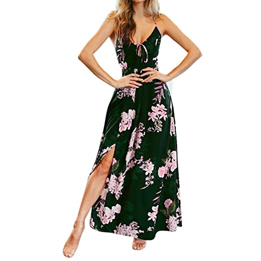 ff1002c9002 Maonet Women Floral Print Cross Strap Self Tie Back Split Maxi Dress V-Cut  Out