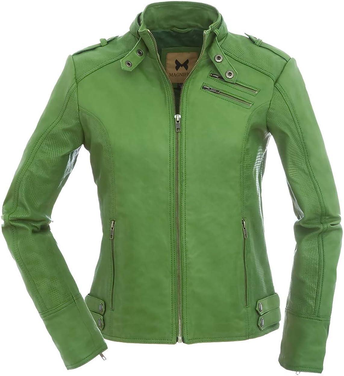 magnifica Valéry–Biker Mujer Chaqueta de piel en verde XS–XXL