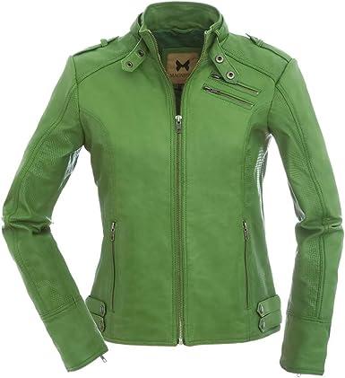 vert tailles XS-XXL /Veste en cuir style biker pour femme Magnifica Valery/