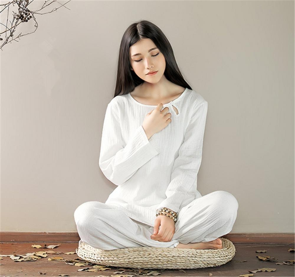 Lino Cotone Naturale Vestiti Lunghi di Yoga / 2pcs / Tops + Pants